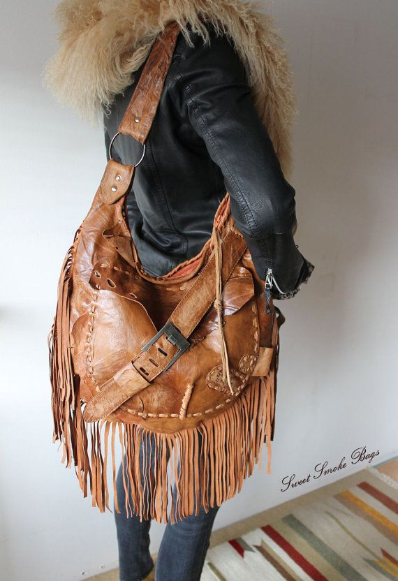 Rusted brown boho leather bag fringe bohemian for free people with gypsy soul #SweetSmokeBags #Hobo