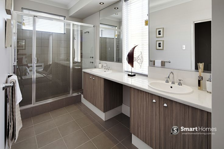 modern ensuite design with double basins. A charming neutral colour scheme. #ensuite #smarthomesforliving