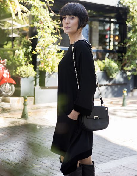 Black onesize dress viscose with velvet detail!!! www.cherryschoice.gr
