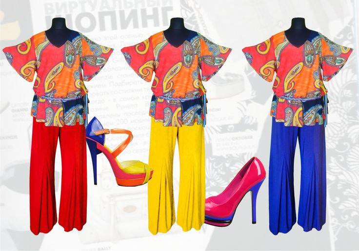 """56$ Летний брючный костюм для полных женщин: блузка свободного покроя из штапеля с рукавами """"колокольчик"""" + трикотажные брюки прямые от бедра с шифоновой бантовой складкой от колена Артикул 655. р50-64Женские костюмы большие размеры  Женские костюмы с брюками большие размеры  Летний брючный костюм большие размеры  Нарядные женские брючные костюмы большие размеры"""