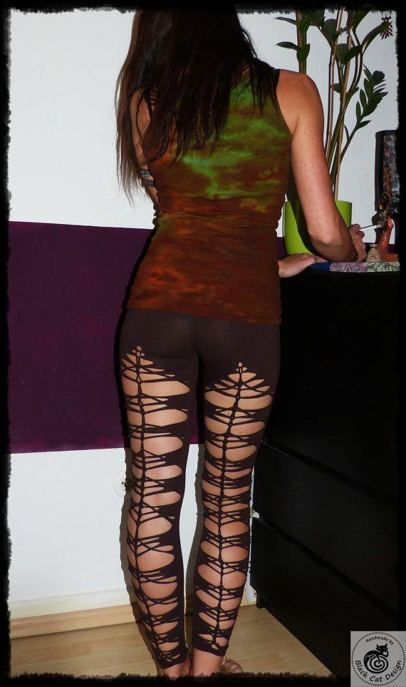 "Tribal Legging ""Hook"" - back braided Yoga cut out Festival Leggings by Black Cat Design"