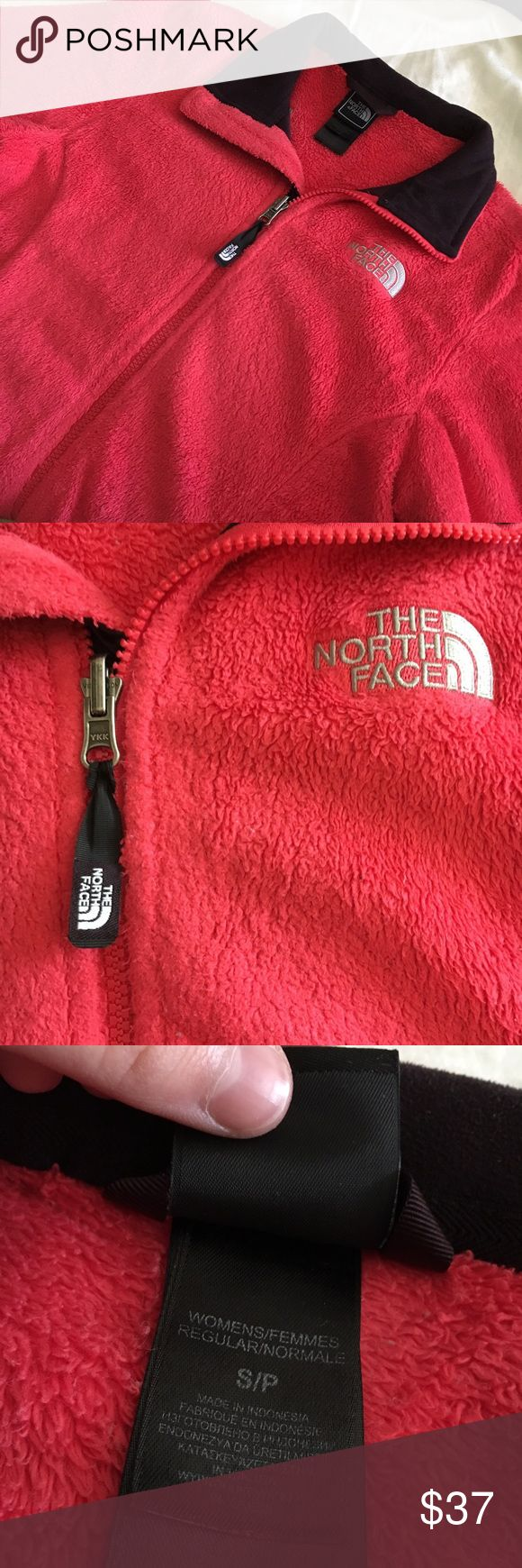 ❄️Fuzzy Bright Pink/Red North Face Jacket❄️ This jacket is extremely comfortable and it's been worn a few times. It's still in pretty good condition, and it needs a new home! The North Face Jackets & Coats