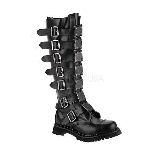 DEMONIA REAPER-30 Men's Black Leather Steel Toe Boots