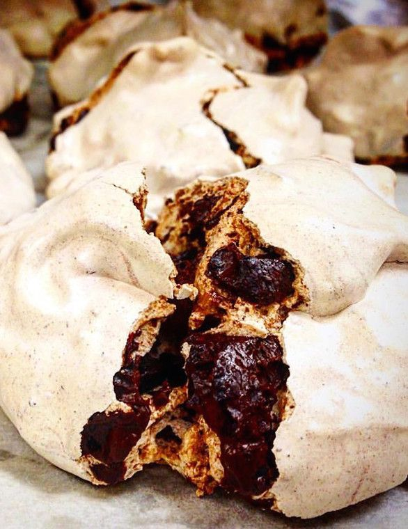 These are insane. Michelle Gayer, chef and owner of Minneapolis' acclaimed Salty Tart bakery, shares her recipe for chocolate meringues. Soft, chewy and rich with decadent chocolate on the inside with a crispy exterior, these meringues are the perfect, easy dessert.