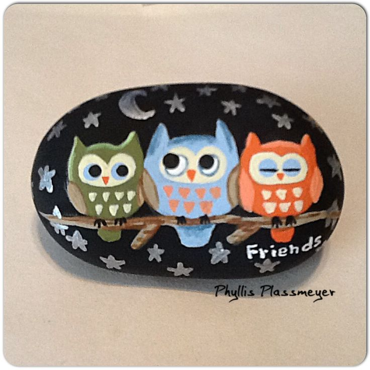 Owls (friends) painted rock by Phyllis Plassmeyer