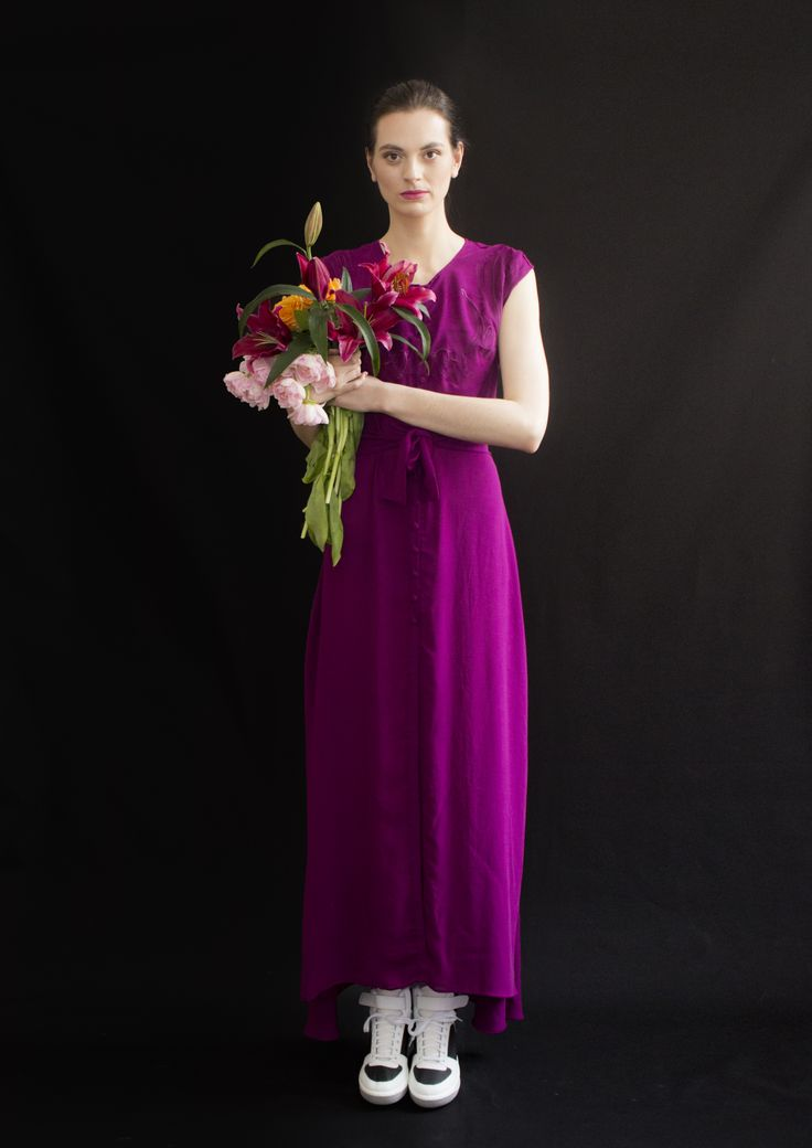 REETIMEE 2015 long magenta dress embroidery birds