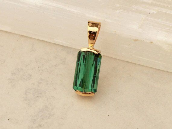Handmade Green Tourmaline and 14k Yellow Gold Pendant #Birthday_gift #Christmas_gift #Gift_for_her