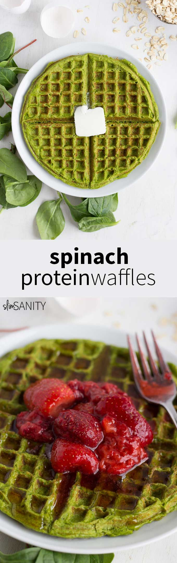 Spinach protein waffles are a delicious option for a healthy breakfast or lunch, and they can be made in 5 minutes! | slimsanity.com