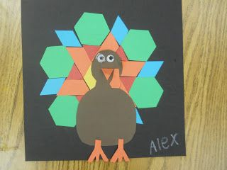 Thanksgiving turkey with pattern blocks!