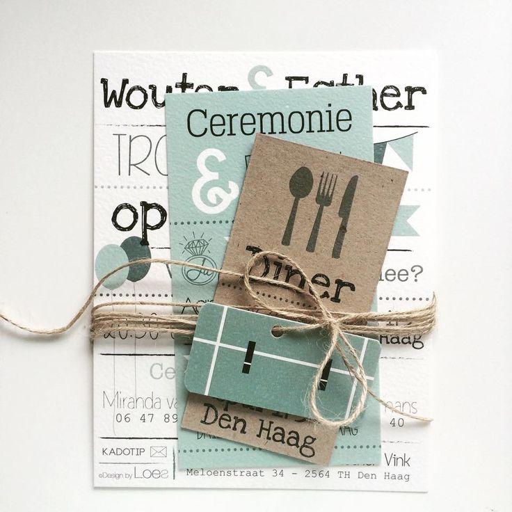Trouwkaart Wouter & Esther - @designbyloes - www.loesvanmastwijk.nl