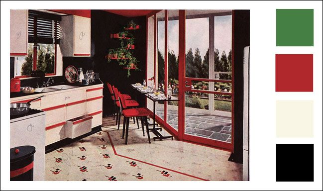 1945 armstrong linoleum kitchen color scheme red. Black Bedroom Furniture Sets. Home Design Ideas