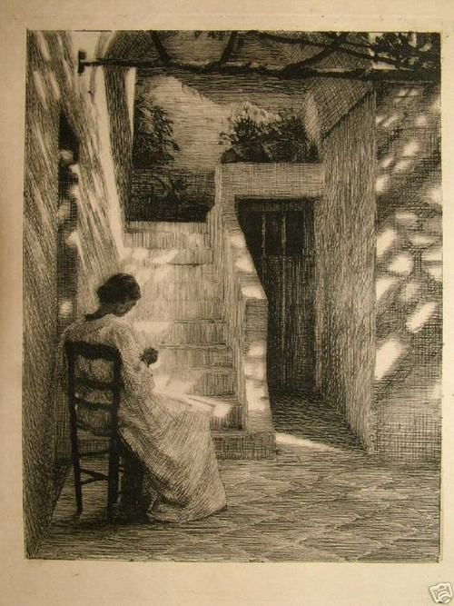 Peter Ilsted - Under the wineleaves, 1893 etching
