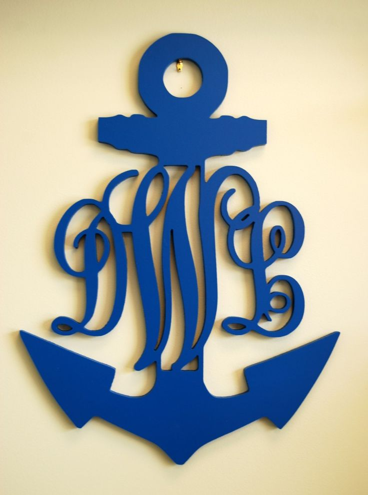 This decorative wooden anchor door hanger can be displayed on any door with your monogram. Select a paint color and you're set (24''/shown in true blue)!