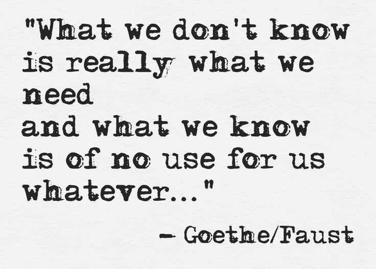 """""""What we don't know, is really what we need, and what we know is of no use for us whatever."""" [""""Was man nicht weiß, das eben brauchte man, und was man weiß, kann man nicht brauchen.""""]"""