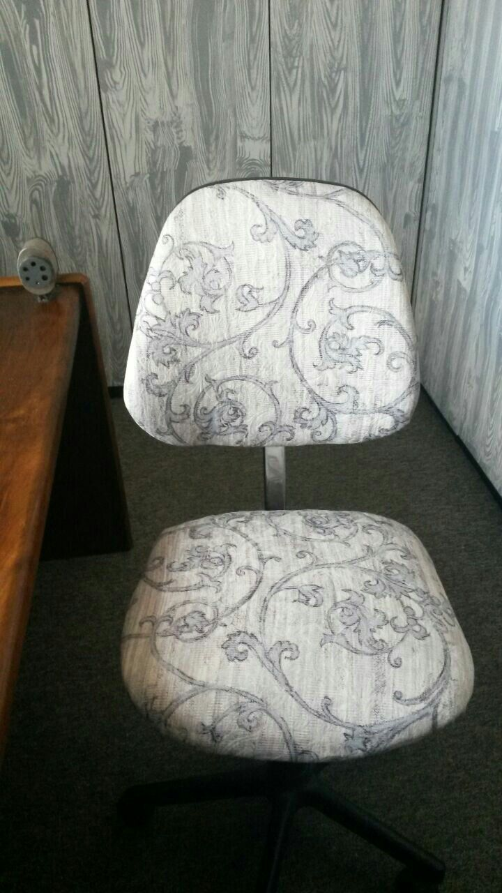 office chair reupholstered to match my craft room cupboards.
