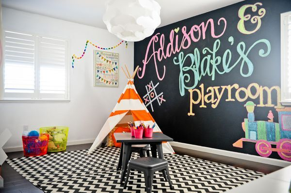 Colorful Playroom - love this WASHABLE chevron rug, so you don't have to worry about messes and spills!