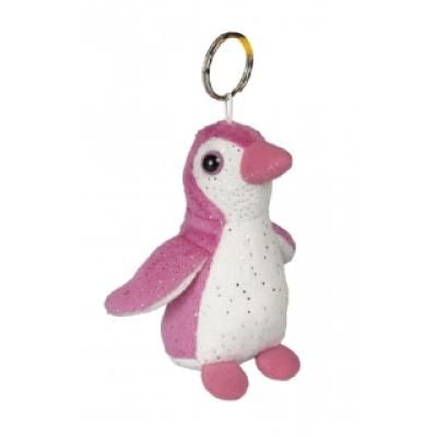 Image of Branded Penguin Keyring. Pink And White 10 cm Penguin.