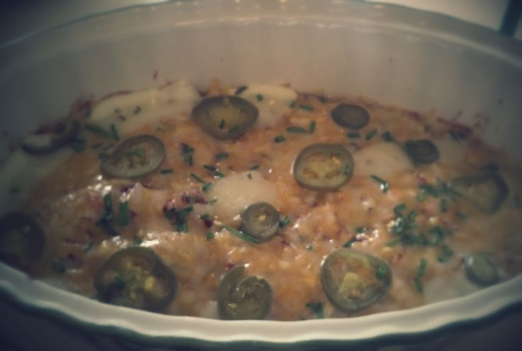 Layered jalapeno casserole- Recipe-http://allrecipes.com/recipe/44989/quick-and-easy-green-chile-chicken-enchilada-casserole/ removed tortillas, bottom layer diced red pepper + cup frozen corn + large can stewed tomatoes, browned garlic chicken w/ green sauce, light sour cream, topped w/ shredded cheese,chives & thin sliced jalapenos as shown. bake 45 min @375*