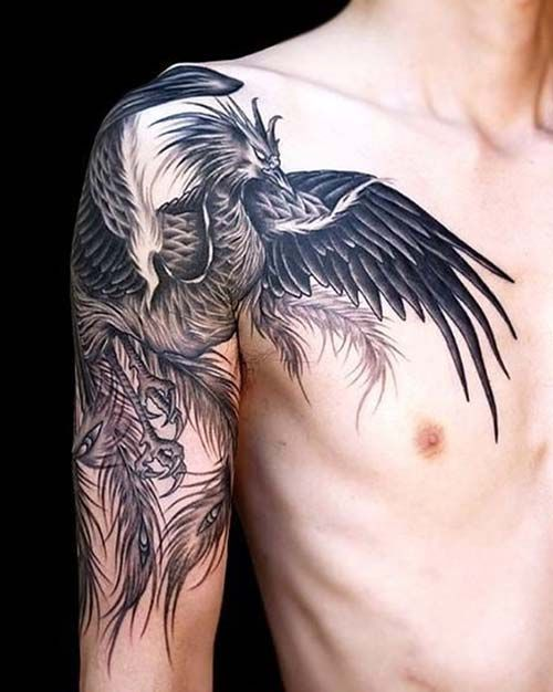 man arm shoulder phoenix tattoo erkek omuz kol anka kuşu dövmesi
