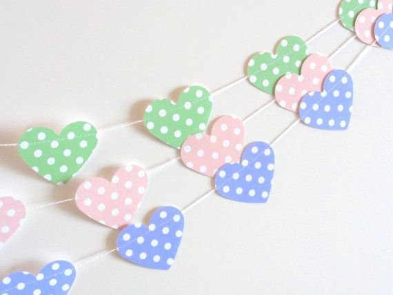 Green Polka Dot Paper Heart Garland Party Banner 10 by ShastaBlue, $8.00