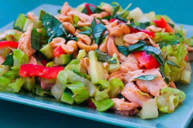 Spicy Chicken Salad Recipe with Sugar Snap Peas, Cucumber, Red Bell P ...