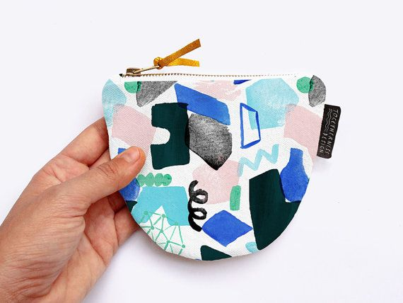 Geometric Abstract Painted Coin Purse with Gold Zip and Leather Pull