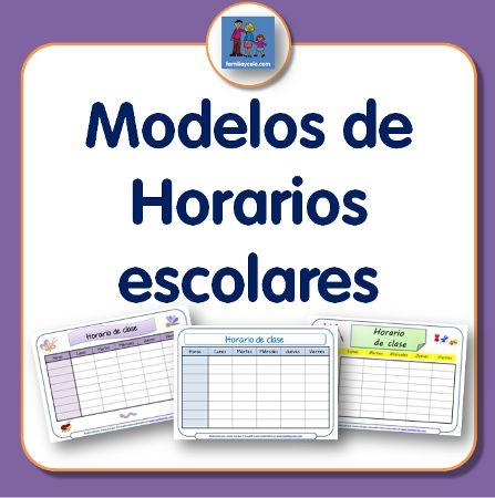 Diferentes modelos de horario escolar para descargar e imprimir. Plantillas con dibujos con diferentes motivos y sin ellos. Muy prácticos.
