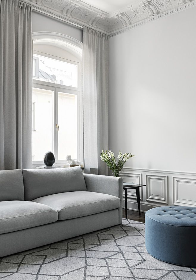 Palmdale Sofa Dusty Gray Living Room Scandinavian modern style interior design geometric patterned rug blue ottoman