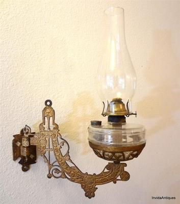 Wall Mounted Lamp Holder : Antique Victorian Hanging Cast Iron Eagle Oil Lamp Holder & Wall Mount Bracket For the Home ...