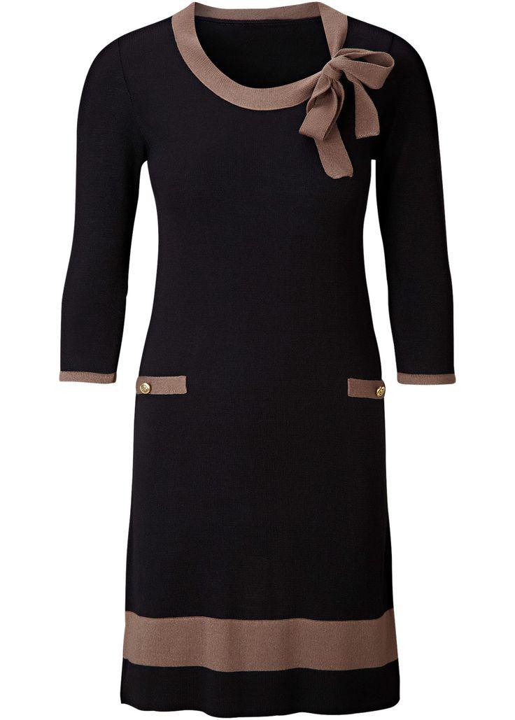 Strickkleid schwarz/matt braun - BODYFLIRT jetzt im Online Shop von bonprix.de ab ? 19,99 bestellen. Elegantes Strickkleid, mit Rundhalsausschnitt und einer ...