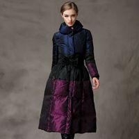 2016 новый европейский украина куртка долго утка вниз юбка платье ветровки куртки пальто шнурок талии удлиненные пальто зимние женщины