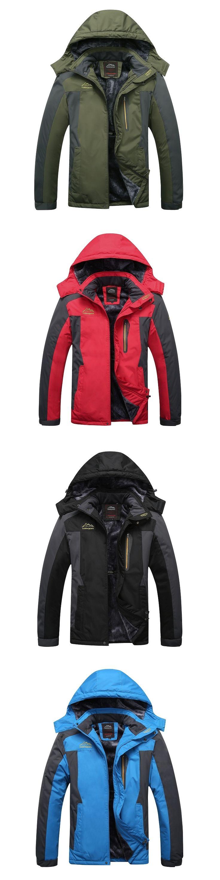 2016 Softshell Jacket Men Hooded Jacket Waterproof Windproof Thermal Jacket Warm Downhill  Fleece Zipper Cotton Coats with Hat
