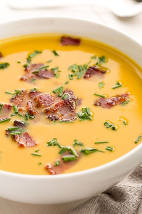 Dinner hack for the laziest of lazy nights: Heat up TJ's addictive butternut squash soup and top it with bacon and chives. (You fancy, huh?) Bonus points for stirring in a spoonful of bacon fat for depth. Cost per serving: $2.48 Get the recipe.