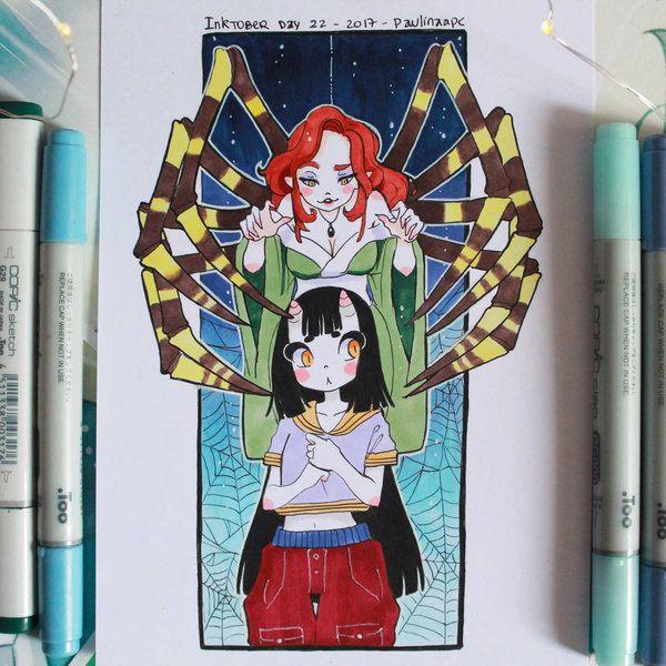 Inktober 2017 day 22 - Jorogumo and Eunbooh by Paulinaapc.deviantart.com on @DeviantArt