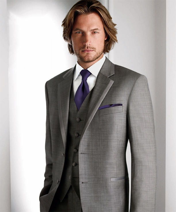 Grey and purple tuxgroomsmen calvin klein ideas grooms suits grey