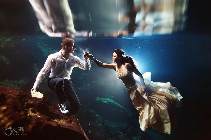 Danielle and Brandon in a stunning cenote trash the dress photo shoot in the Riviera Maya with photographers Del Sol Photography. Loving the @Converse #megafanconverse