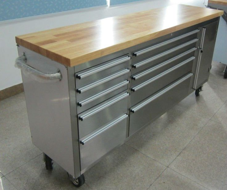72 Inch 15 Drawer Stainless Steel Tool Chest with Fine Wooden Top $300~$600