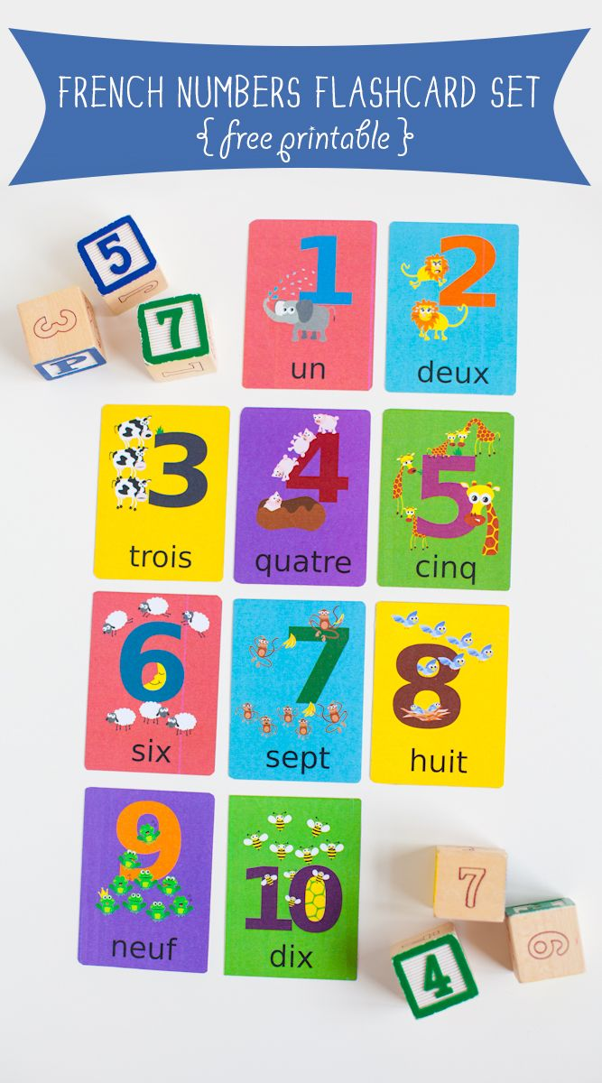Free to download French Numbers Flashcards (1-10)