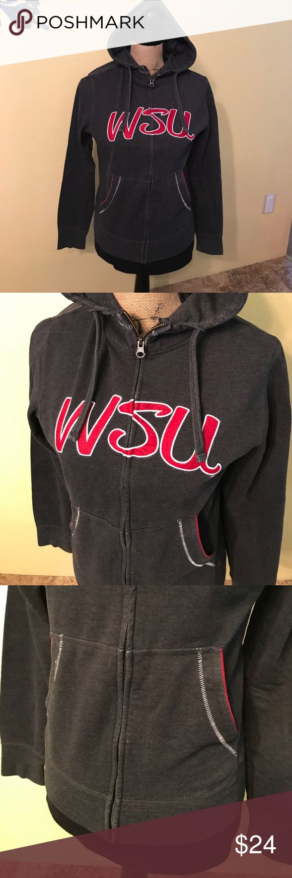 Washington State University hoodie Small Great preowned condition. Love this top with the stitching details on the pockets and hood. I wish it still fit me or else I'd keep it. Tops Sweatshirts & Hoodies
