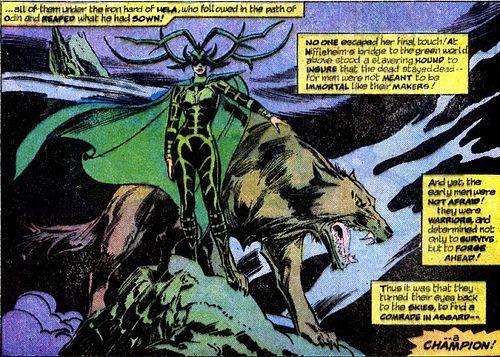 Hela, goddess of death, and her great big doggie. #Hela