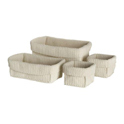 LIDAN Cesto juego de 4 IKEA Hecho a mano. Cada cesto es único. Adecuado para espacios muy húmedos.