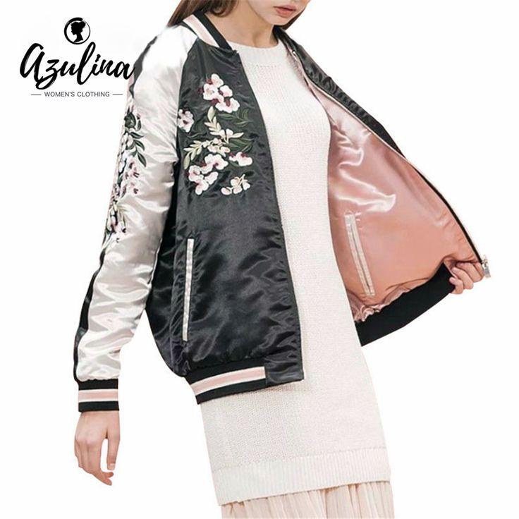 AZULINA Reversible Coat Pink Embroidery Bomber Jacket Women Autumn Spring Flower Baseball Short Jackets Female Black Overcoat