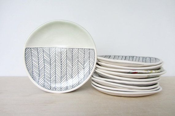 Ceramic Herringbone Patterned Canape Plate with Sage by ebenotti, $44.00