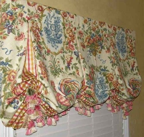 Custom VALANCE French Country Waverly Toile Balloon WINDOW