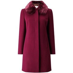 Jacques Vert Petite Glamour Faux Fur Collar Coat, Purple