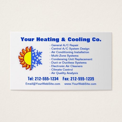 Customizable Heating Cooling Business Card Zazzle Com Cool
