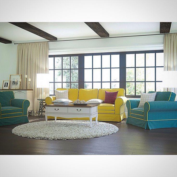 """Дизайн интерьера гостиной с яркими диванами и креслами от онлайн-маркет """"Этажерка"""". Весь комплект можно купить со скидкой 20% и наслаждаться яркими оттенками лета круглый год."""