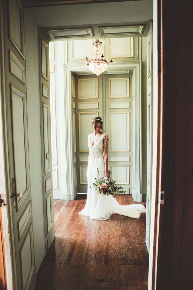 Bride In Embellished Anna Campbell Wedding Dress | Vintage-inspired unique bridal gown | Sierra Dress and Blossom Headpiece | Designer Wedding Dress | Boho bride | Classic French Chateau Wedding Venue