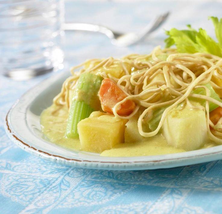 Grønnsaker i karrisaus