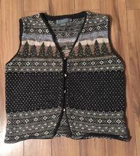 Icelandic Sweater Vest Nordic Christmas Tree Wool Womens Warm Medium | eBay